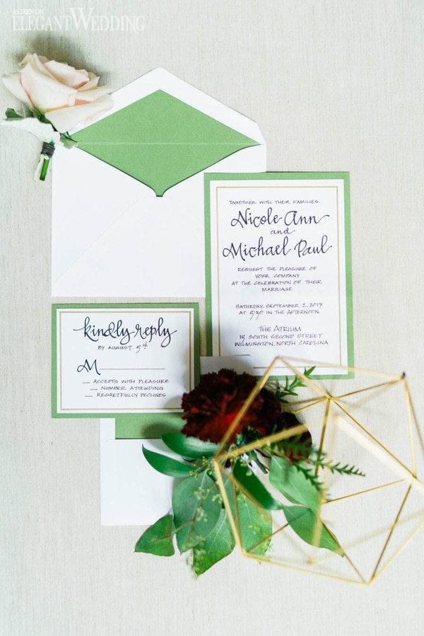 green and white garden wedding invitations